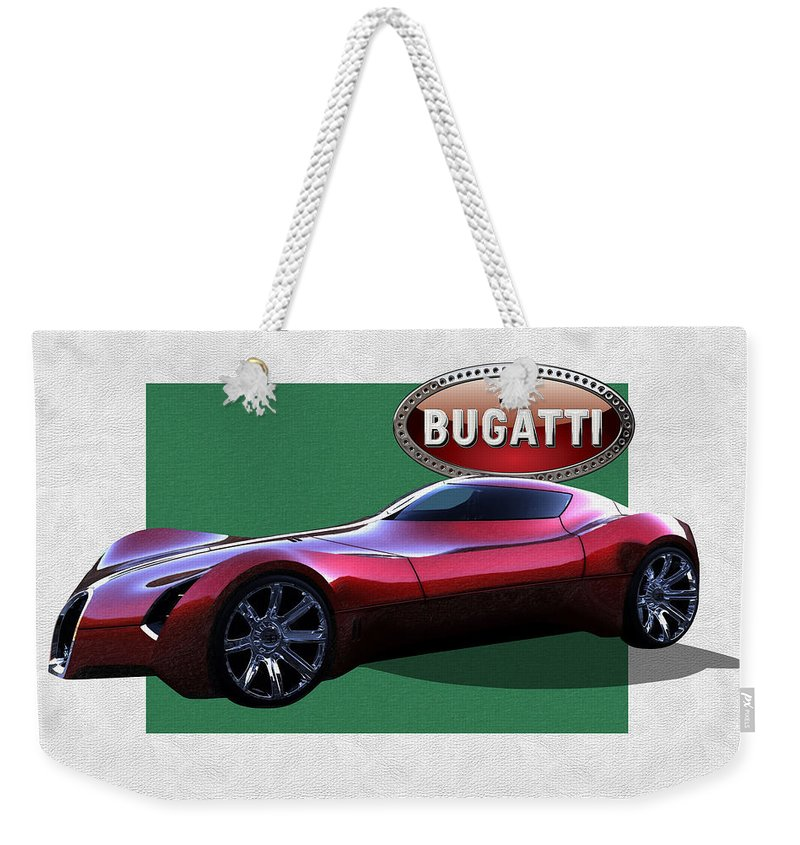 �bugatti� By Serge Averbukh Weekender Tote Bag featuring the photograph 2025 Bugatti Aerolithe Concept with 3 D Badge by Serge Averbukh
