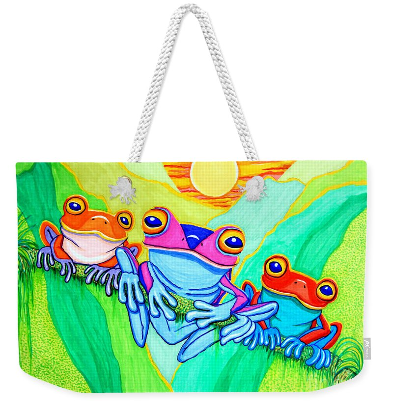 Frog Weekender Tote Bag featuring the drawing 3 Little Frogs by Nick Gustafson