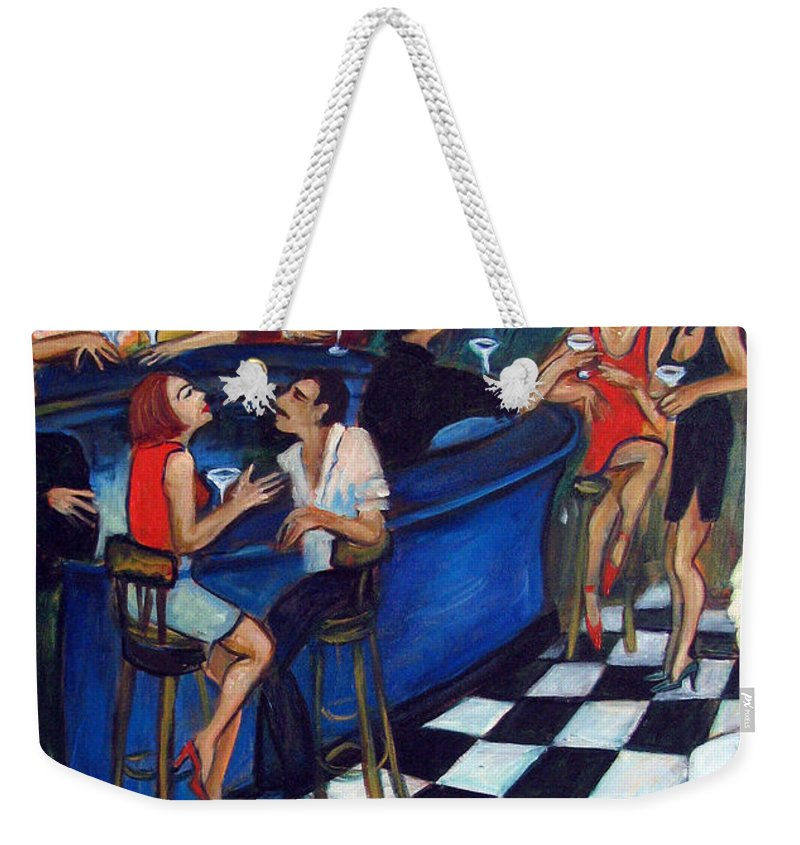 Chicago Style Bar Weekender Tote Bag featuring the painting 32 East by Valerie Vescovi