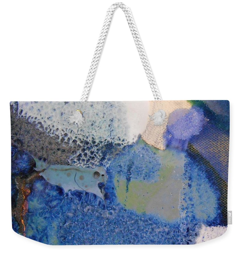 Abstract Weekender Tote Bag featuring the painting 43. Blue Purple White Glaze Painting by Maggie Minor