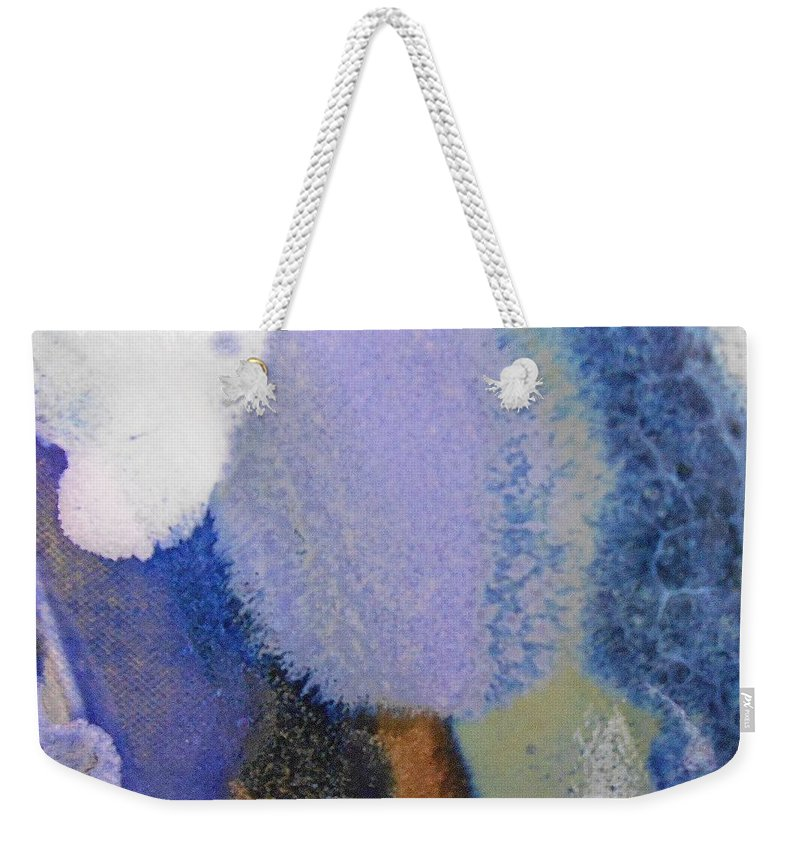 Abstract Weekender Tote Bag featuring the painting 44. Blue Purple White Glaze Painting by Maggie Minor