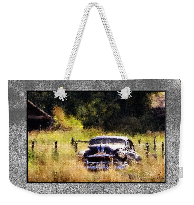 Old Cars Weekender Tote Bag featuring the painting 53 Pontiac by Susan Kinney
