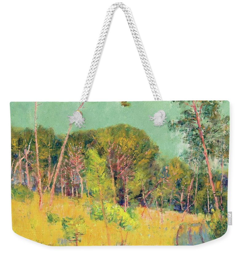 Painting Weekender Tote Bag featuring the painting A Clearing In The Forest by Mountain Dreams