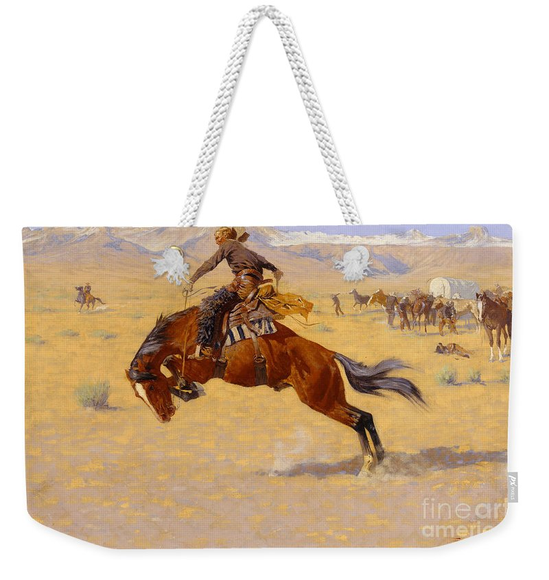 Cowboy; Horse; Pony; Rearing; Bronco; Wild West; Old West; Plain; Plains; American; Landscape; Breaking; Horses; Snow-capped; Mountains; Mountainous Weekender Tote Bag featuring the painting A Cold Morning on the Range by Frederic Remington