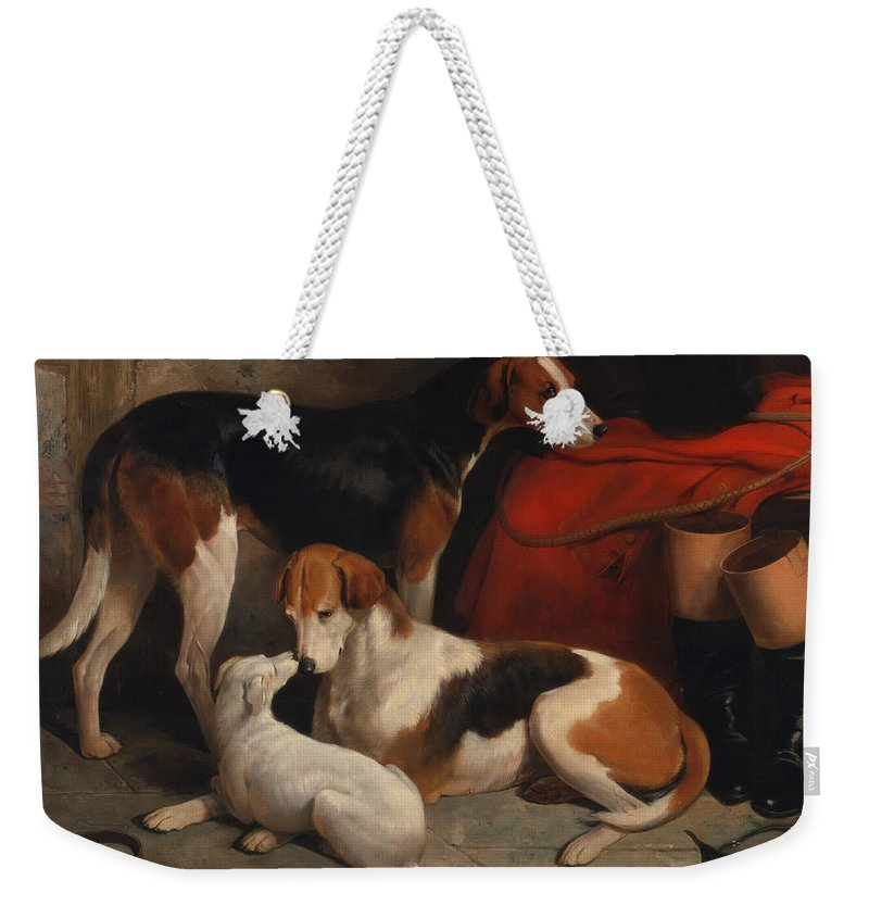 Painting Weekender Tote Bag featuring the painting A Couple Of Foxhounds With A Terrier - The Property Of Lord Henry Bentinck by Mountain Dreams