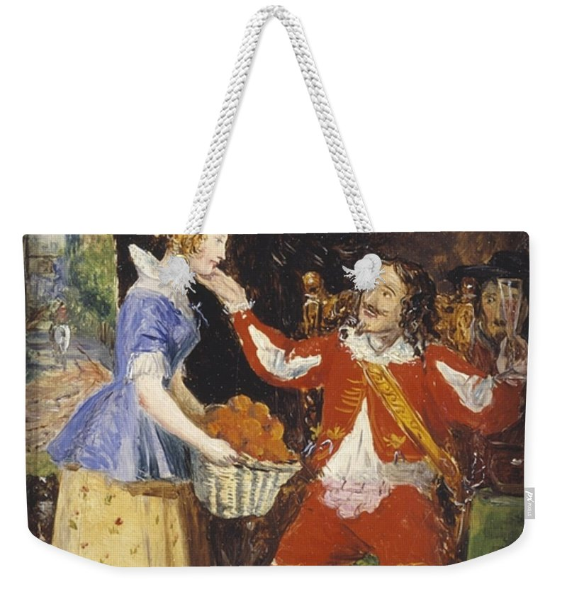 Sir John Everett Millais Weekender Tote Bag featuring the painting A Maid Offering A Basket Of Fruit To A Cavalier by Everett Millais