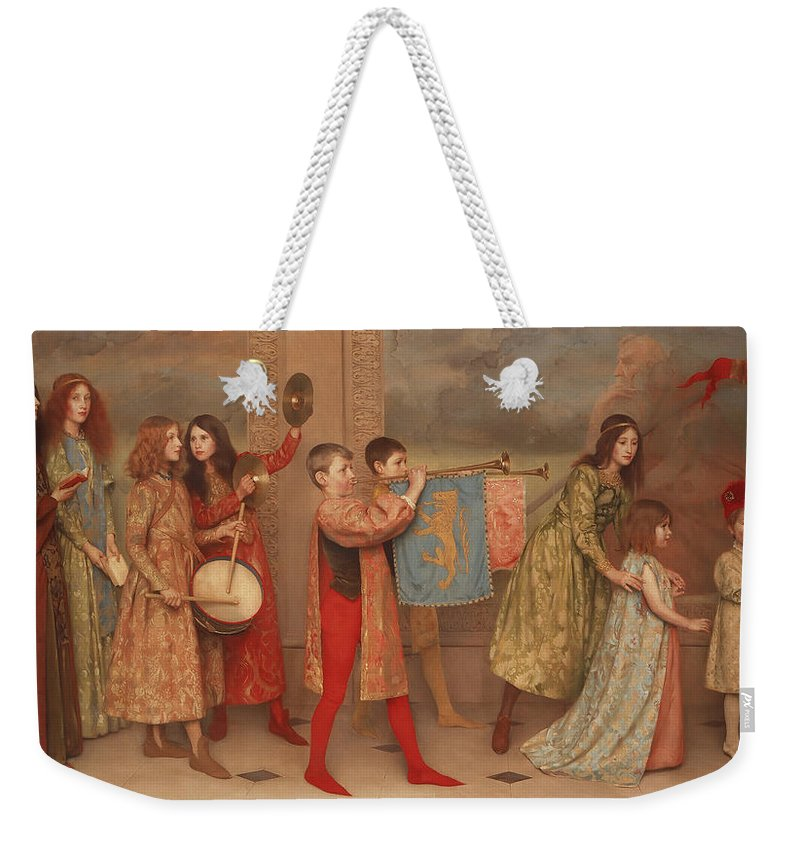 Painting Weekender Tote Bag featuring the painting A Pageant Of Childhood by Mountain Dreams