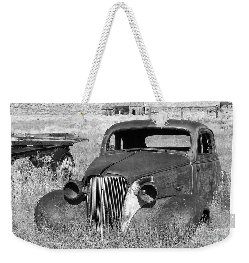 Vintage Cars Weekender Tote Bag featuring the photograph A Ride To The Past by Sandra Bronstein