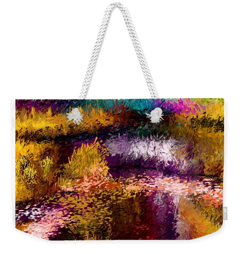 Digital Painting Weekender Tote Bag featuring the digital art Aaw2- Evening At The Pond by David Lane