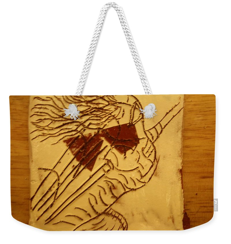 Jesus Weekender Tote Bag featuring the ceramic art Abandon - Tile by Gloria Ssali