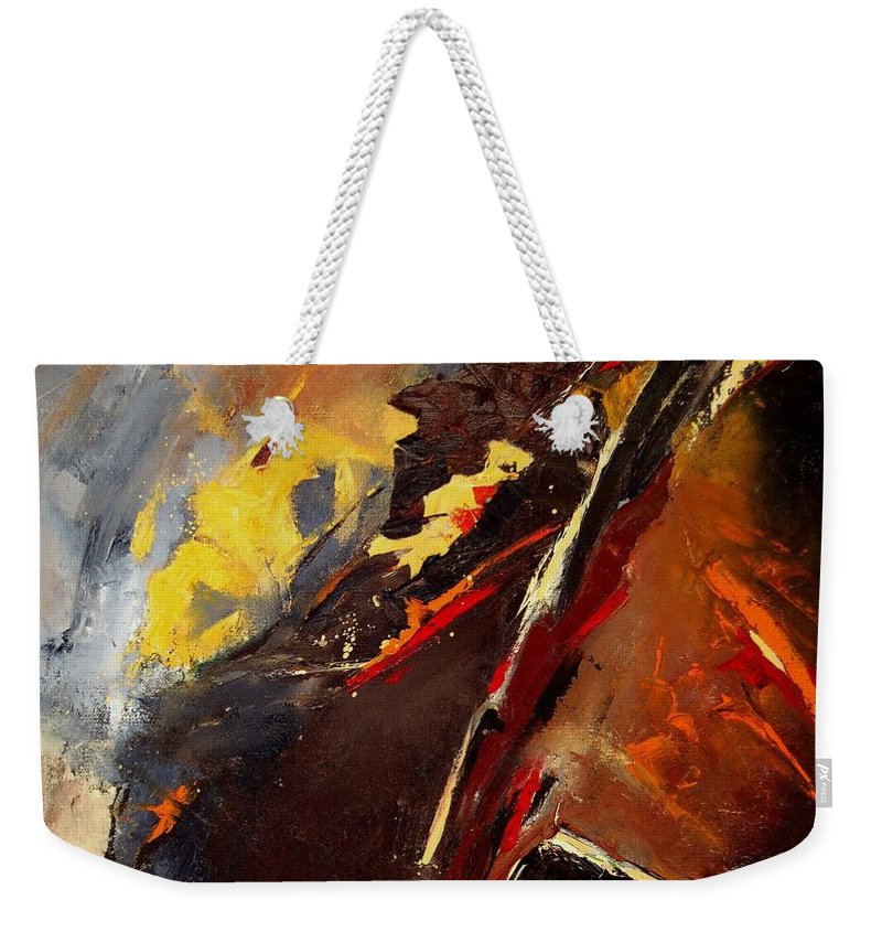 Abstract Weekender Tote Bag featuring the painting Abstract 12 by Pol Ledent