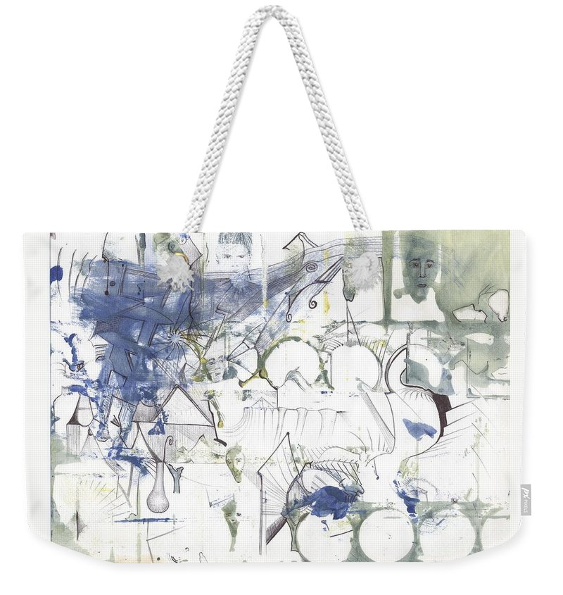 Abstract Colors Faces Weekender Tote Bag featuring the drawing Sjb-17 by St James Bennett