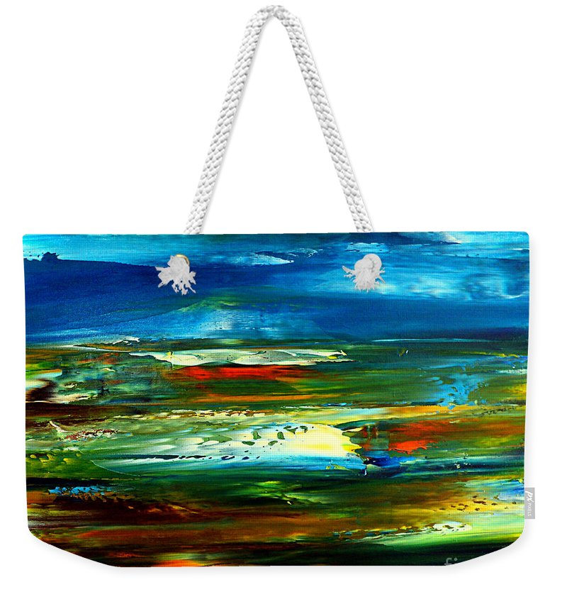 Abstract Weekender Tote Bag featuring the painting Abstract Landscape by Nelu Gradeanu