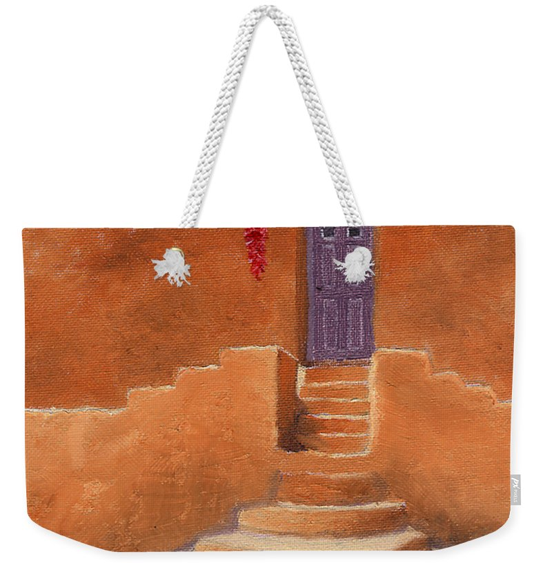 Acoma Weekender Tote Bag featuring the painting Acoma Steps by Jerry McElroy