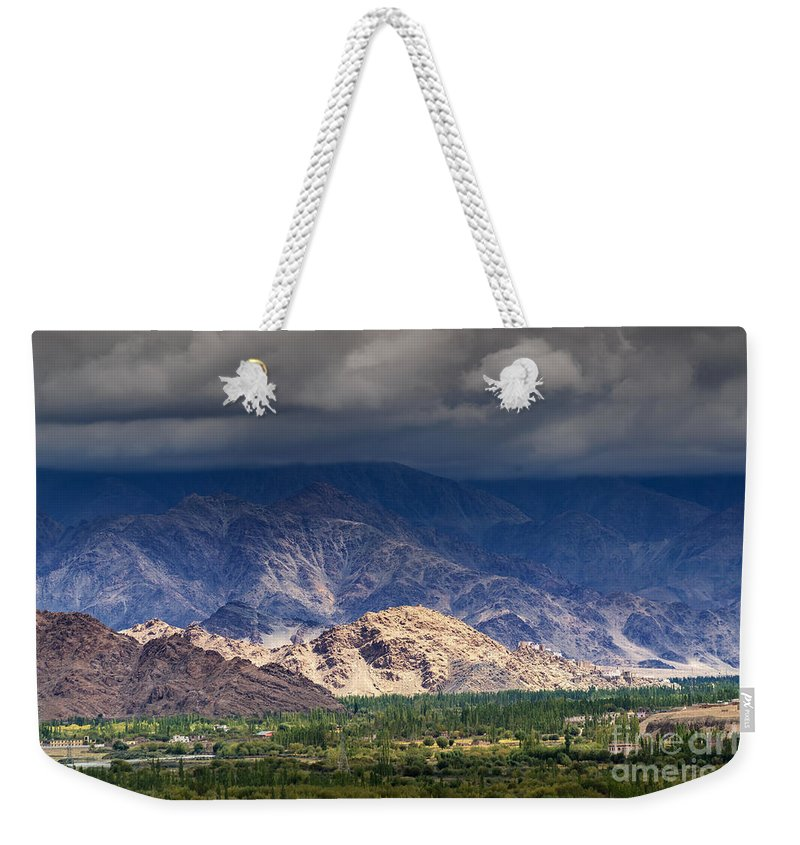 Ice Peak Weekender Tote Bag featuring the photograph Aerial View Of Leh City Landscape Ladakh Jammu And Kashmir India by Rudra Narayan Mitra