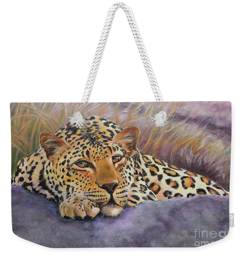 African Leopard Weekender Tote Bag featuring the painting African Leopard by Katy Widger