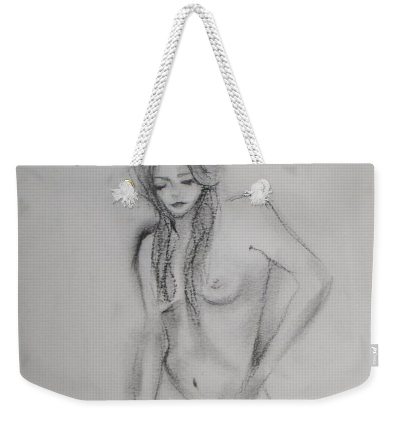 Nude Weekender Tote Bag featuring the drawing Woman Nude Drawing by Vesna Antic