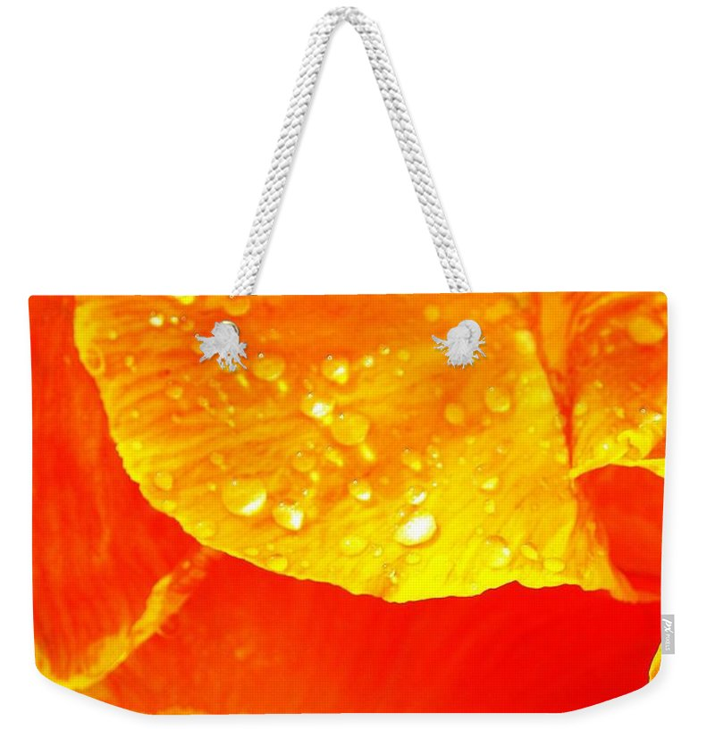 Flower Weekender Tote Bag featuring the photograph After The Rain ... by Juergen Weiss