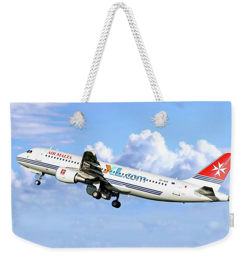 Air Weekender Tote Bag featuring the photograph Air Malta Airbus by Anthony Dezenzio