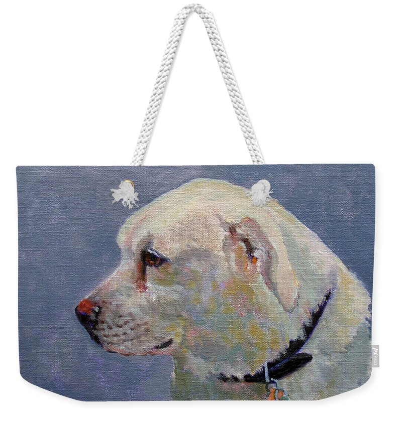 Dog Weekender Tote Bag featuring the painting Alex by Keith Burgess