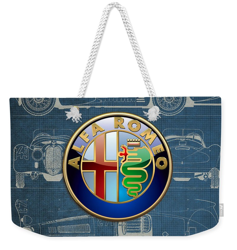 �wheels Of Fortune� By Serge Averbukh Weekender Tote Bag featuring the photograph Alfa Romeo 3 D Badge over 1938 Alfa Romeo 8 C 2900 B Vintage Blueprint by Serge Averbukh