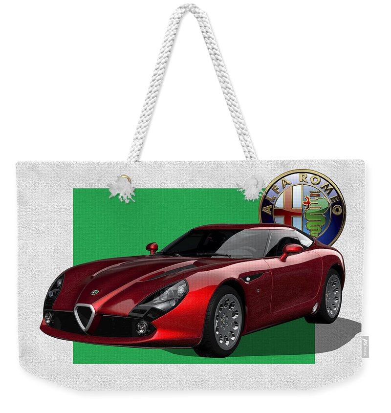 �alfa Romeo� By Serge Averbukh Weekender Tote Bag featuring the photograph Alfa Romeo Zagato T Z 3 Stradale With 3 D Badge by Serge Averbukh