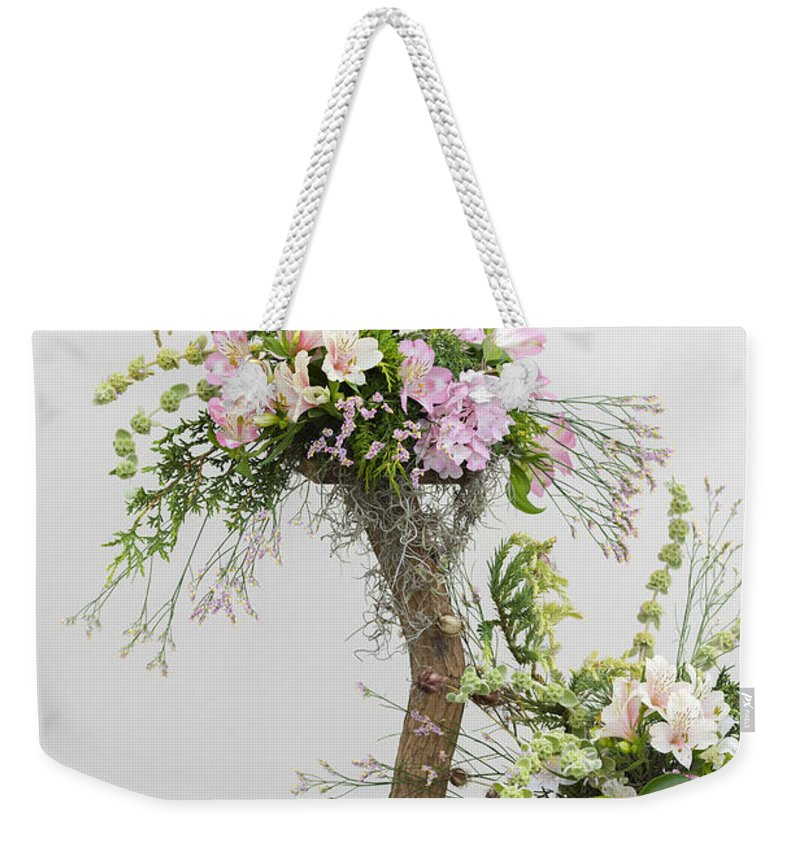 Alstroemeria Weekender Tote Bag featuring the photograph Alstroemeria Flower Arrangement by Chris Smith