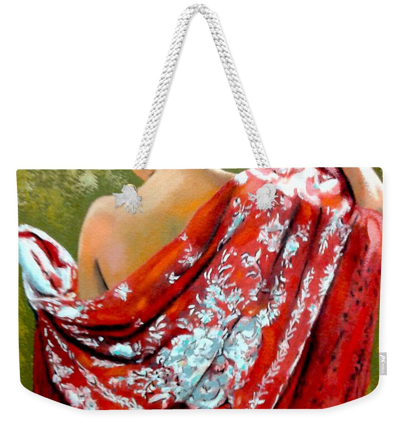 Red Weekender Tote Bag featuring the painting aly by Jose Manuel Abraham