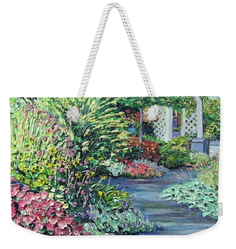 Garden Weekender Tote Bag featuring the painting Amelia Park Pathway by Richard Nowak
