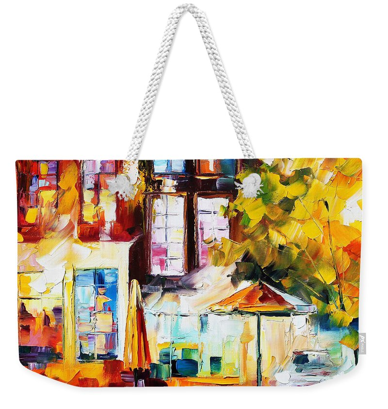Afremov Weekender Tote Bag featuring the painting Amsterdam by Leonid Afremov