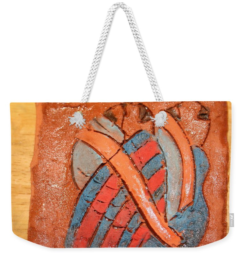 Jesus Weekender Tote Bag featuring the ceramic art Amuweese - Tile by Gloria Ssali