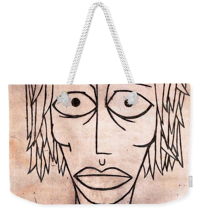 Clay Weekender Tote Bag featuring the painting amy by Thomas Valentine