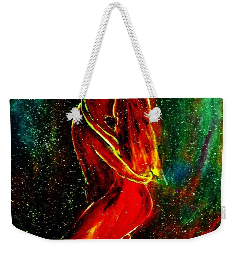 Dance Weekender Tote Bag featuring the mixed media And They Danced by Robin Monroe