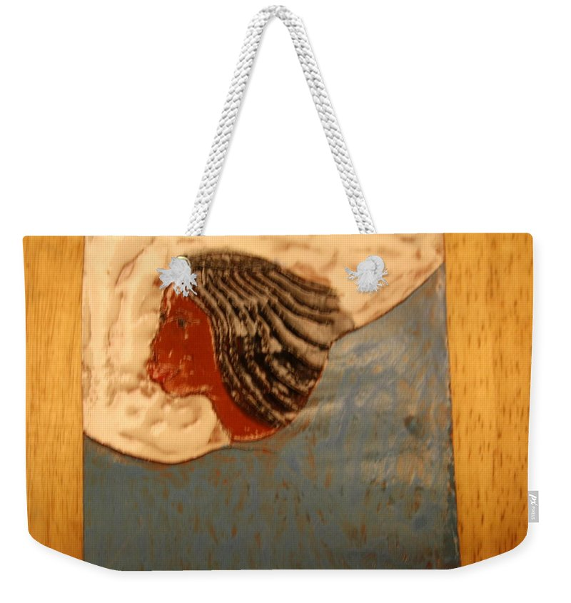 Jesus Weekender Tote Bag featuring the ceramic art Angel - Tile by Gloria Ssali