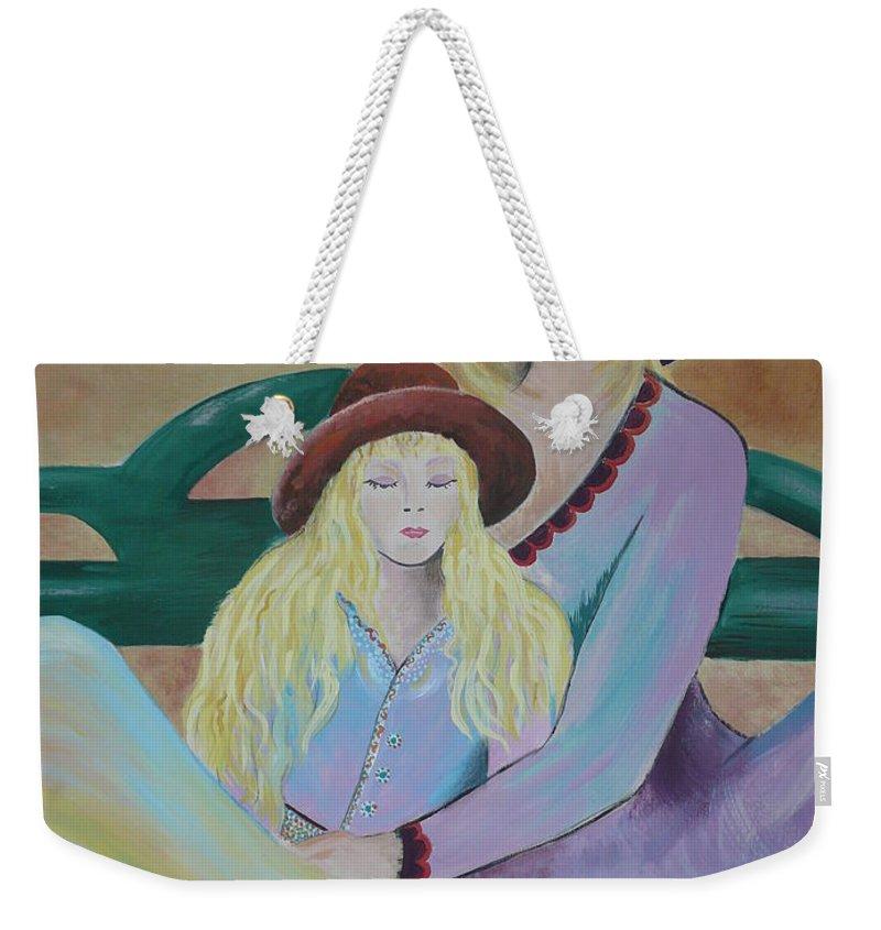 Mother/daughter Weekender Tote Bag featuring the painting Angel Face by Kris Crollard