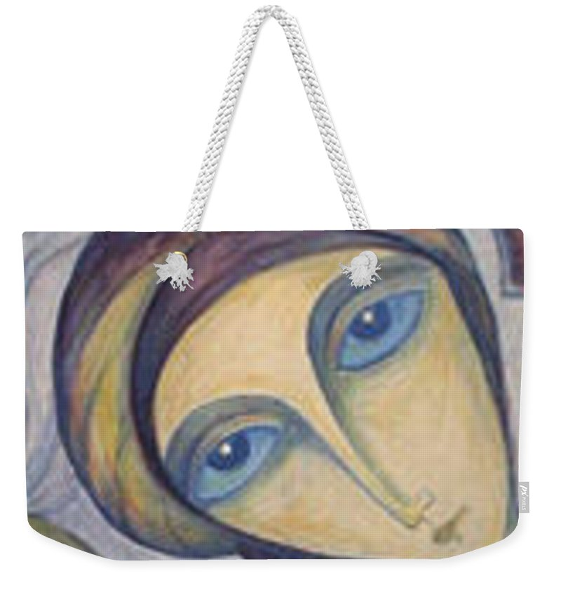 Original Weekender Tote Bag featuring the painting Angel Of Mercy by Rae Chichilnitsky