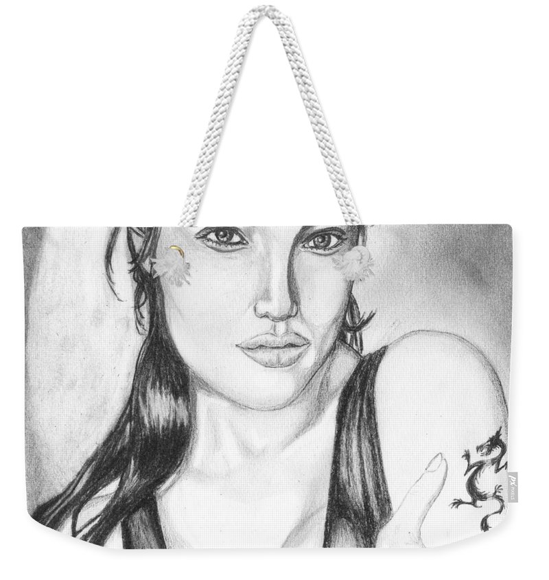 Portrait Weekender Tote Bag featuring the drawing Angelina Jolie Portrait by Alban Dizdari