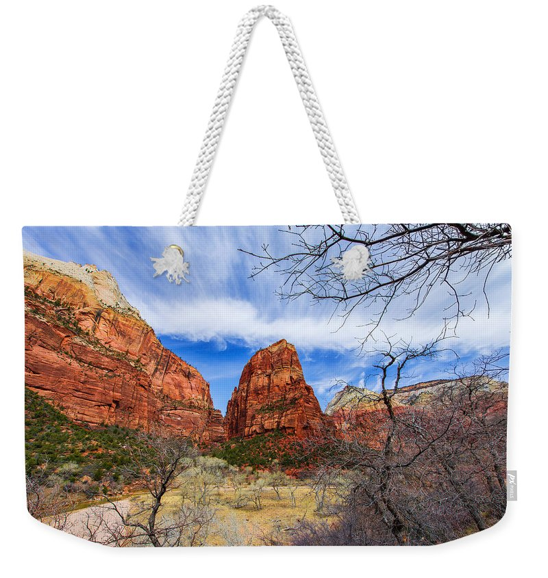 Angels Landing Weekender Tote Bag featuring the photograph Angels Landing by Chad Dutson