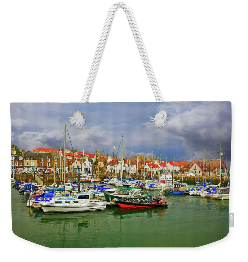 Landscape Weekender Tote Bag featuring the photograph Anstruther Harbor by Marcia Colelli
