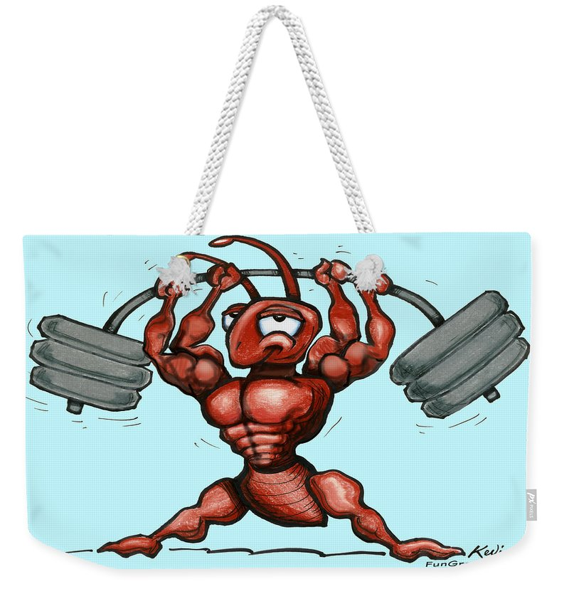 Gym Weekender Tote Bag featuring the greeting card Ant by Kevin Middleton