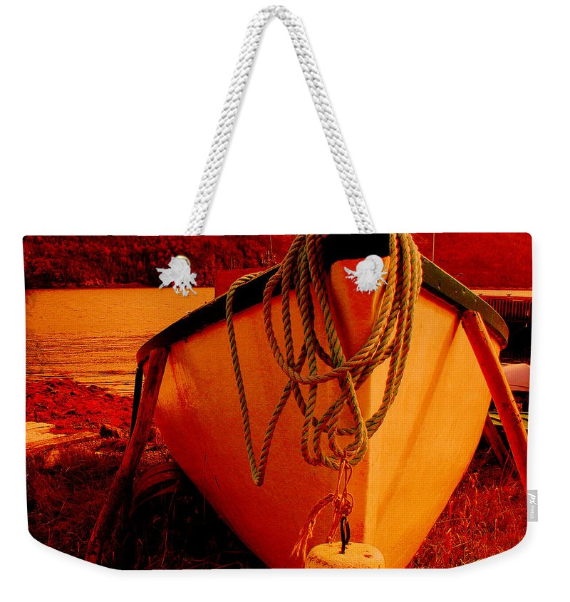 Antique Bow And Rope Weekender Tote Bag featuring the digital art Antique Bow And Rope by Barbara Griffin