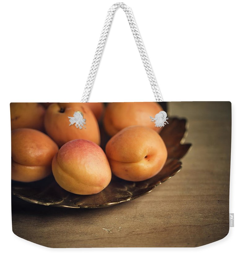 Apricot Weekender Tote Bag featuring the photograph Apricots by Nailia Schwarz