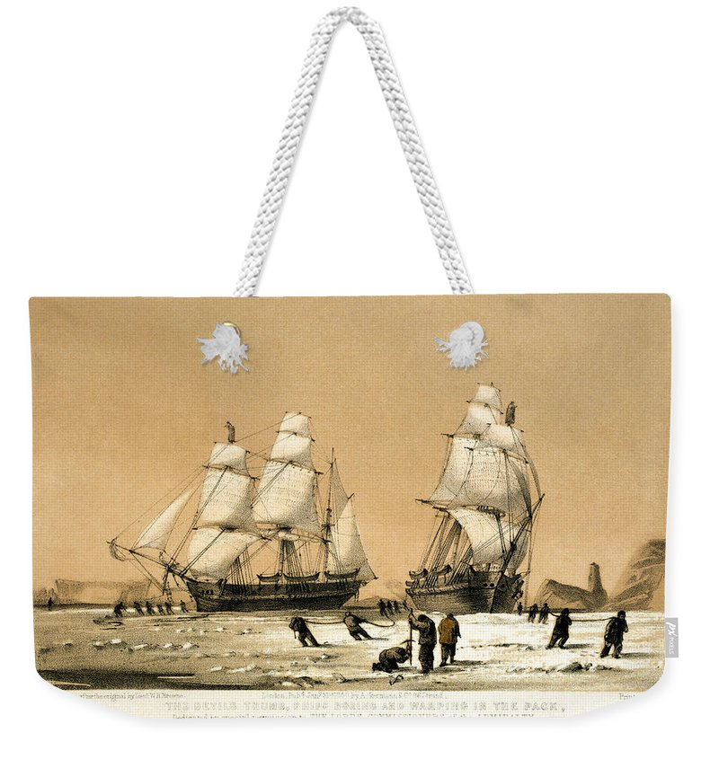 1850 Weekender Tote Bag featuring the drawing Arctic Ocean by Granger