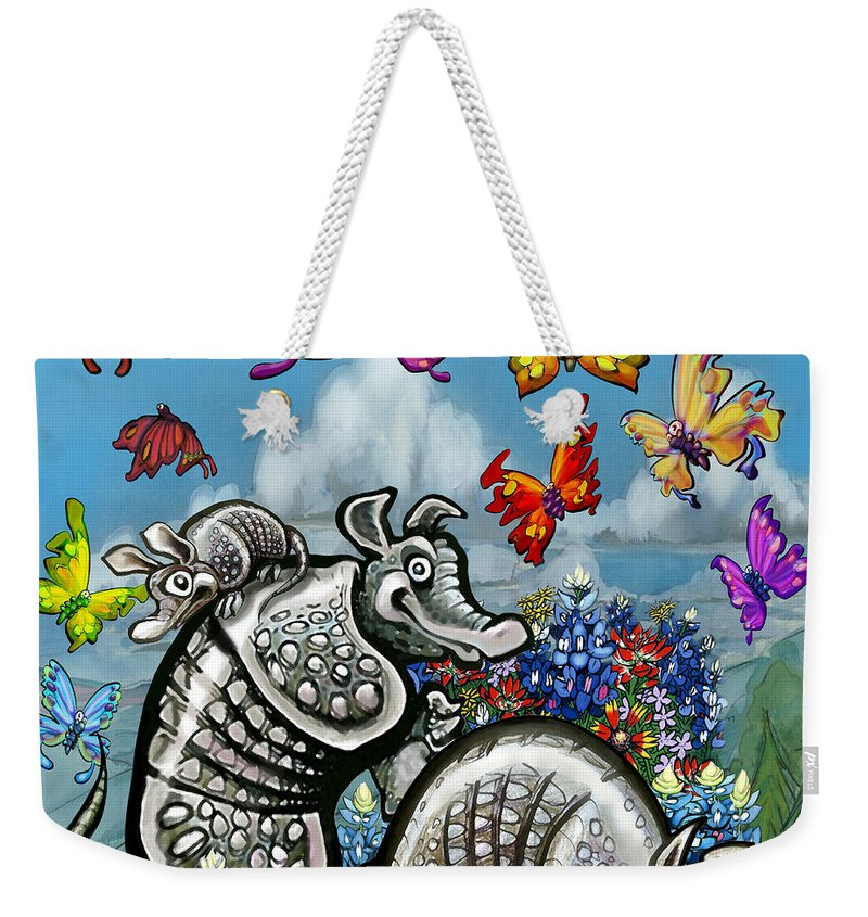 Armadillos Weekender Tote Bag featuring the digital art Armadillos Bluebonnets And Butterflies by Kevin Middleton