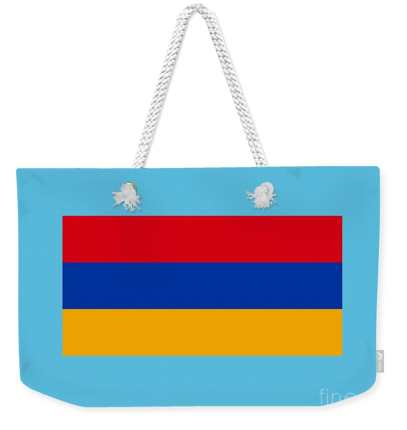 Flag Weekender Tote Bag featuring the digital art Armenia Flag by Frederick Holiday