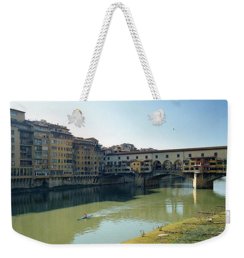 Arno Weekender Tote Bag featuring the photograph Arno River In Florence Italy by Marna Edwards Flavell
