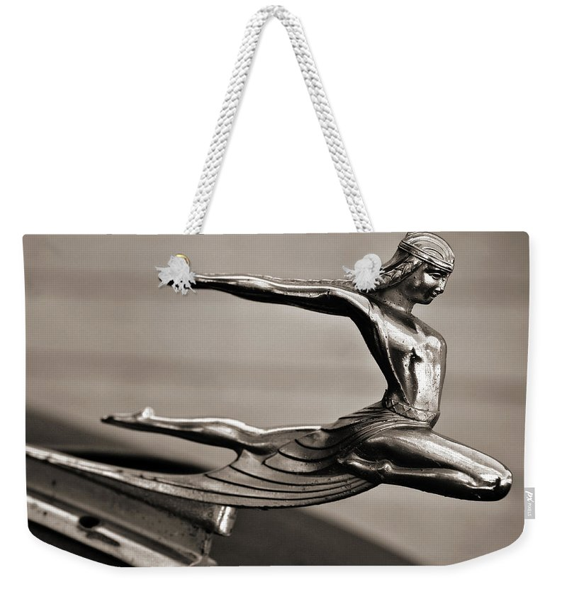 Americana Weekender Tote Bag featuring the photograph Art Deco Hood Ornament by Marilyn Hunt