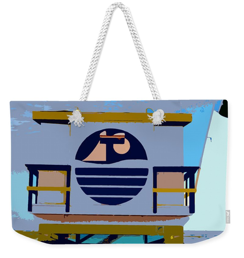 Miami Beach Florida Weekender Tote Bag featuring the photograph Art Deco Lifeguard Stand by David Lee Thompson