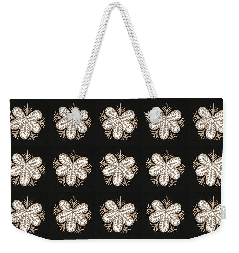 Bnw Weekender Tote Bag featuring the mixed media Artistic Sparkle Floral Black And White Graphic Art Very Elegant One Of A Kind Work That Will Show G by Navin Joshi