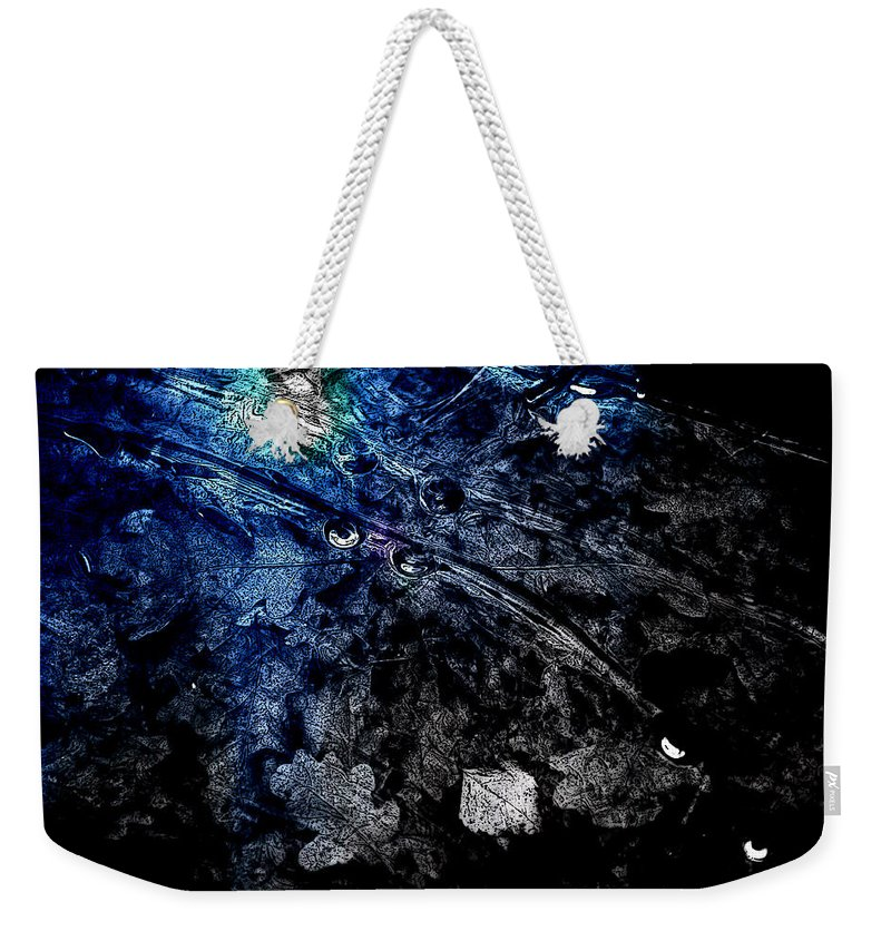 Abstract Weekender Tote Bag featuring the photograph Leaves Under Ice by Randi Grace Nilsberg
